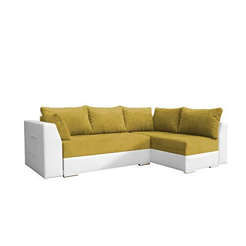 Canapé d'angle Blanc Tissu Design Confort