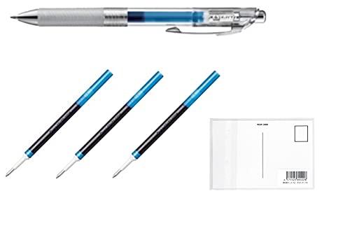 ぺんてる ゲルインキボールペン エナージェルインフリー BL77TL-C クリア軸【ブルー/0.7�o】1本 + 替芯LR7TL【ブルー】3本セット + 画材屋ドットコム ポストカードA