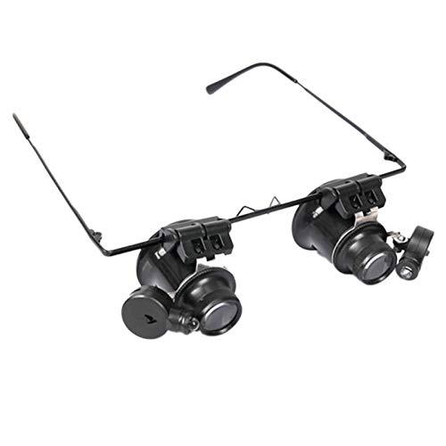 TOOGOO 9892A-II 20X Lupa Binocular para Gafas con Lupa de ReparacióN Ajustable con Luz LED