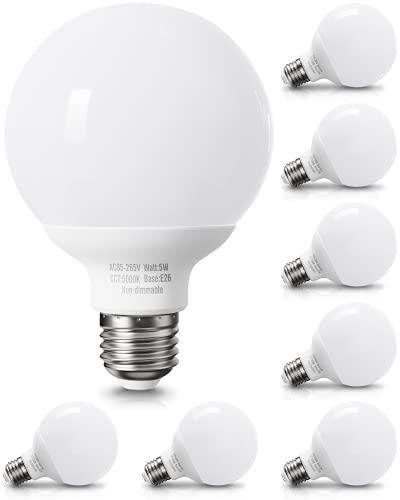 8 Pack Daylight LED Globe Light Bulbs for Bathroom, 120V 60 Watt Eqv., E26 Base, Non-Dimmable Vanity Light Bulbs Round, 5000K Bright G25 LED Bulb Over Mirror