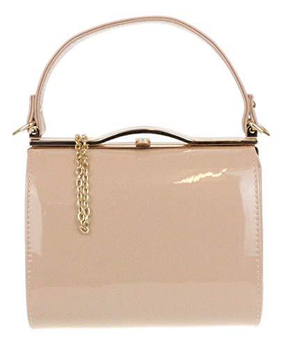 Girly Handbags Glänzend Lack Leder Handtasche Abend Handtasche Griff Verschluss