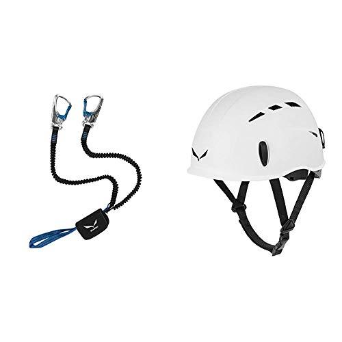 Salewa Unisex– Erwachsene Set VIA FERRATA Premium ATTAC, Silver, Neue Norm & Unisex– Erwachsene Helmet TOXO, weiß, Uni