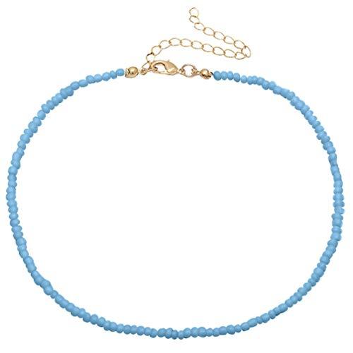 Holibanna Frauen Choker Halskette Samen Joker Perlen Einlagigen Hals Kette Schmuck (Blau)