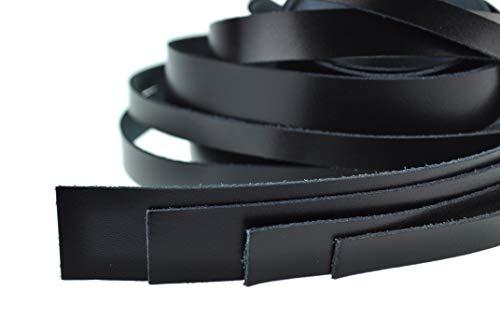 esnado Lederband Flach/Lederstreifen/Lederriemen Dicke: ca. 1,8 mm (Breite: 10 mm, Schwarz)