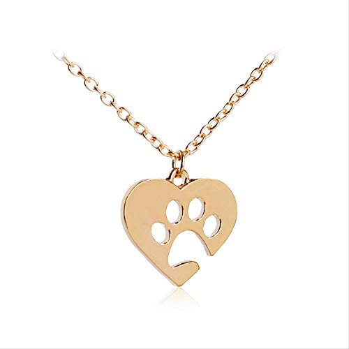 VAWAA Notch Heart Simple Necklaces Dog Cat Lover Necklace Hollow Pet Paw Cute Print Animal Memorial Jewelry Gold Silver Color