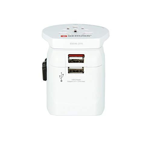 SKROSS 1302550 Pro Light USB - World 3-Pol-Weltreiseadapter mit Patentiertem Länderschiebersystem, 2400 mA, Shared, Weiß