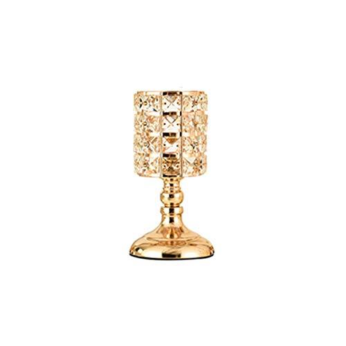 AXHSYZM Candeleros de Cristal Portavelas de Columna de Oro para Decoración del Hogar, Centros de Mesa, Decoración navideña,Small