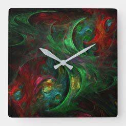 Traasd11an 15 Inch Silent Non-Ticking Wall Clock, Battery Operated Genesis Green Abstract Art Wooden Clock for Kitchen Home Living Room Office Bathroom