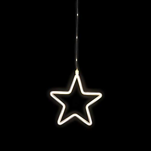 Idena 30199 - LED Dekolicht Stern in warmweiß, 6 Stunden Timer Funktion, batteriebetrieben, mit Saugnapf, ca. 23 x 23 cm groß, Innen- und Außenbereich, als Fensterbild und Stimmungslicht