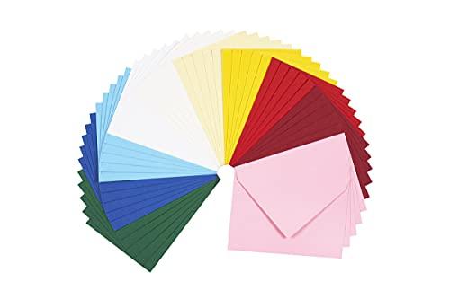perfect ideaz 50 bunte Brief-Umschläge 11 x 15,5 cm (DIN-A6 geeignet), Recycling-Umschlag ohne Fenster, nachhaltig in Deutschland hergestellt, Brief-Hülle in 10 Farben, Kuvert-Set blanko, nass-klebend
