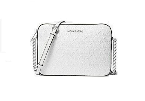 Made of Leather; Zip top closure; 1 open Large compartment; 2 Slide pockets Adjustable Chain and Leathershoulder strap of25.5 inches drop Logo jacquard lining; Silver hardware Measurements: Length: 9.5 x Height: 6.25 x Width: 2 Inches Comes with or...