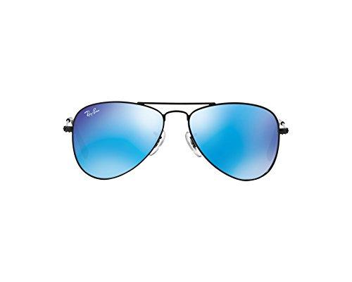 Ray-Ban Junior Aviator Sonnenbrille Im Matt-schwarz-blau-Spiegel Rj9506 201/55 50