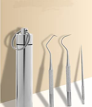 unisex Ranking TOP6 VOVCIG 5 Piece Stainless Steel Portable Toothpick h Metal Curved