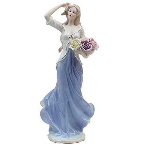 Amperer Keramik Mädchen Statue Porzellan Lady Figur Wohnaccessoires Modern Style Art Skulptur 2# Blumen halten