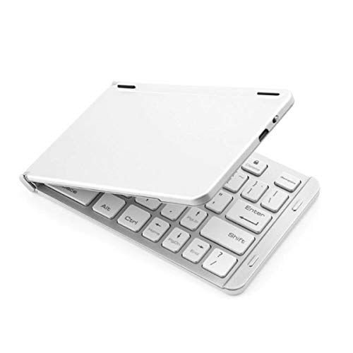 CONCEPT KART™ Foldable Ultra Slim Portable Bluetooth Wireless, Aircraft Grade Aluminum Keyboard, One Touch Connect Button, for iOS, Android and Windows Tabs, Smartphone (Silver)