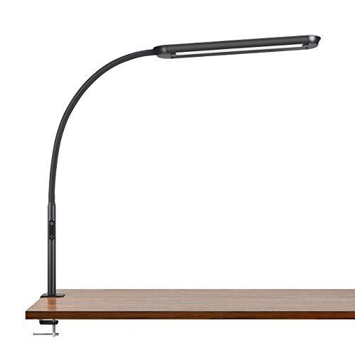 Tomons Lámpara de Escritorio LED 15W, Cuello de Cisne con Abrazadera, Lámpara de Mesa Regulable, Temperatura de Color Ajustable, con Reloj y Función de Memoria, para Estudio, Oficina, Negro