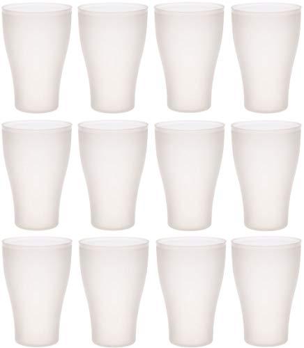 idea-station Neo Vasos plastico 12 Piezas, 450 ml, Transparente, Reutilizable, inastillable, Duro, vajilla, Tazas, Copas, Vaso, niños, Infantiles, de Agua, cóctel, Fiesta