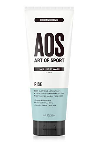 Art of Sport Men's Body Wash with Tea Tree Oil and Aloe Vera, Rise Scent, Dermatologist-Tested, Paraben-Free, Hypoallergenic, Moisturizing Shower Gel, 10 oz