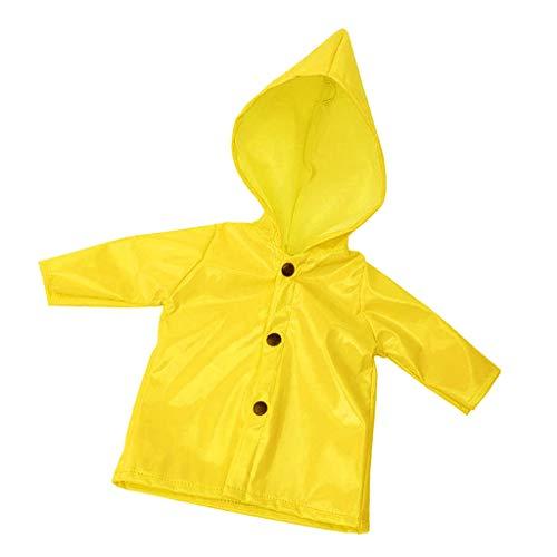P Prettyia Puppenkleidung Regenmantel Outfit Regenkleidung für 18 Zoll amerikanisches Mädchen Puppe - Gelb
