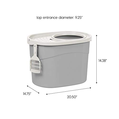 IRIS 589630 Top Entry Cat Litter Box with Cat Litter Scoop, Large, Gray/White