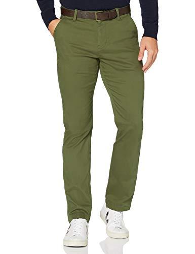 MERAKI Pantaloni Chino in Cotone Uomo, Verde kaki., 40W / 32L, Label: 40W / 32L
