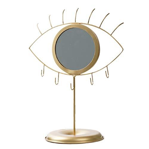 weichuang Tocador de maquillaje espejo espejo espejo decorativo mesa espejo cosmético maquillaje mirroer joyería titular organizador espejo mesa soporte almacenamiento joyería ganchos oro (color: oro)