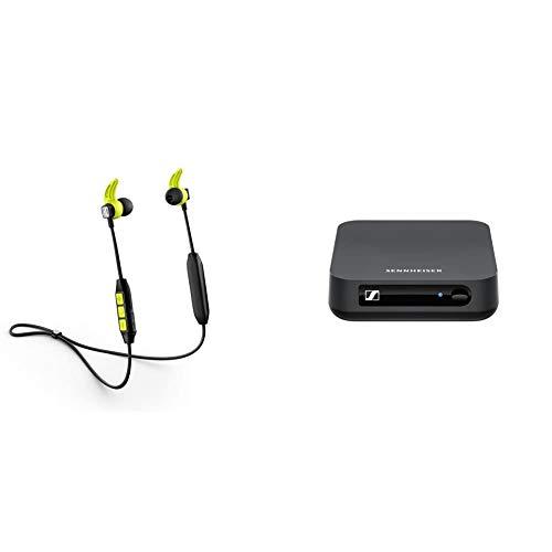 Sennheiser CX Sport Bluetooth In-Ear Wireless Sports Headphon, Black/Yellow & BT T100 Bluetooth-Audio-Transmitter für Hi-Fi oder Home Entertainment Schwarz