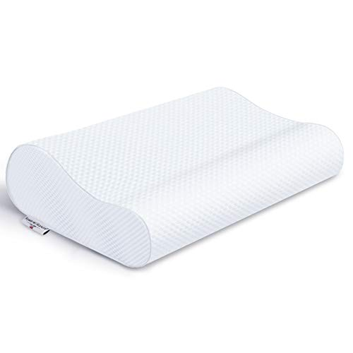 Power of Nature Memory Foam Pillow for Sleeping, Orthopedic Contour Cervical Pillow for Neck, Shoulder Pain, Pillows for Back Stomach Side Sleeper with Washable Breathable Cover