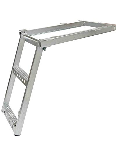 Mytee Products 2 Rung Pull-Out Trailer Step Ladder Folding Truck Step Galvanized Steel Heavy Duty for Use with Trucks, Trailers and RV's