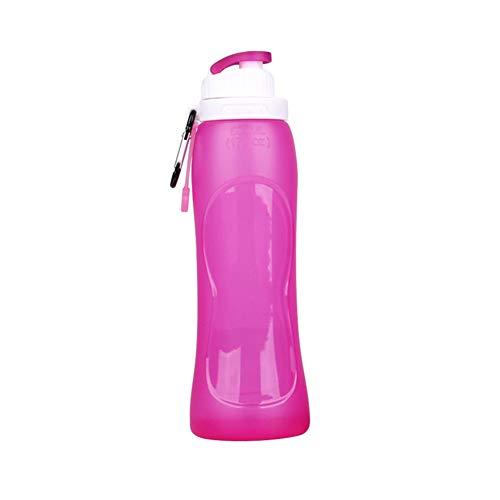 CDKJ Zusammenklappbar Silikon-Wasserflasche Faltbare Wasser-Cup Roll Up Leak Proof Ventil Flaschen mit Karabiner für Outdoor Sports 500ML Reisen - Purple Küchengeräte und Zubehör