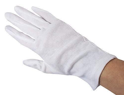 12 Paar Baumwollhandschuhe Trikothandschuhe weiß gebleicht (X-Large)
