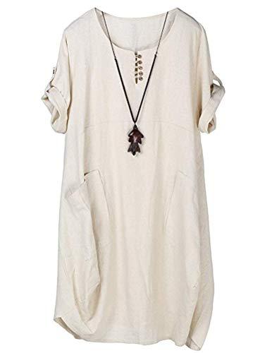 Lavnis Damen Leinen T-Shirt Tunika Kleid Rundhals Kurzarm Midi Kleid Beige M