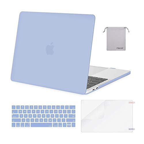 MOSISO Compatible with MacBook Pro 15 inch Case 2019 2018 2017 2016 Release A1990 A1707 with Touch Bar, Plastic Hard Shell Case & Keyboard Cover & Screen Protector & Storage Bag, Serenity Blue