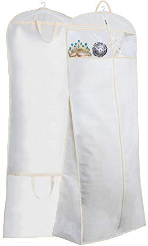 MISSLO Kleidertasche für Hochzeitskleid, lang, mit extra Tasche, 178 cm, Weiß