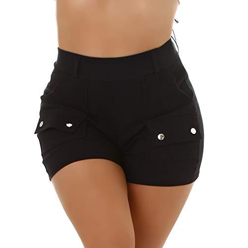 Jela London Damen Hotpants High-Waist Stretch Kurze Shorts Deko-Elemente Slim sexy Taschen, Schwarz 36-38 (S/M)