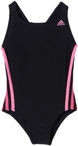 adidas Mädchen Badeanzug 3S, Schwarz/Pink, 116, Z29300
