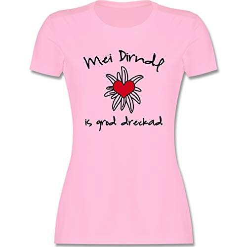 Oktoberfest Trachtenshirt Damen Party Trachten - Dirndl is dreckad - Shirt statt Dirndl - S - Rosa - MEI Dirndl is in da wäsch - L191 - Tailliertes Tshirt für Damen und Frauen T-Shirt