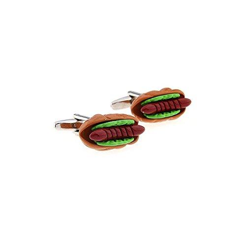 Label-Cravate Boutons de manchettes humour « Saucisse Hot-Dog » fantaisie, boutonnières humoristiques
