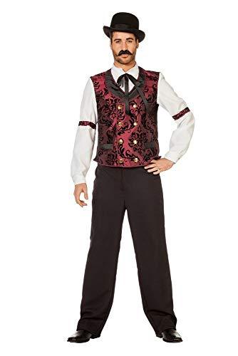 shoperama Wildwest Saloon Barkeeper Herren Kostüm Hemd mit Binder und Weste Cowboy Western, Größe:54