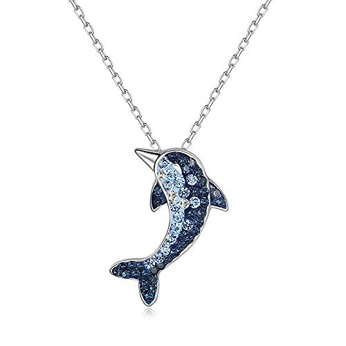 RSHJD Big Fish Begonia Necklace Diamond Ocean Fish Colgante Aniversario Joyería Día de Madres Regalos,Azul
