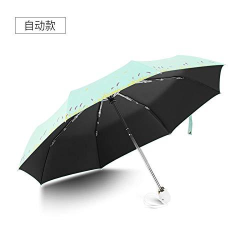 Regenschirm Automatic Regenschirm Weiblichen Kleinen Frischen Wald Falten Göttin Regen Und Regen Dual-Use-Sonnenschirm Sonnencreme Uv-Schutz @ Automatic Geld - Grün