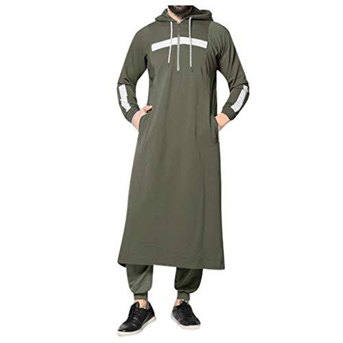 Beautyfine Men's New Muslim Robes Autumn Winter Casual Long-Sleeved Hooded Shirt Tops Army Green