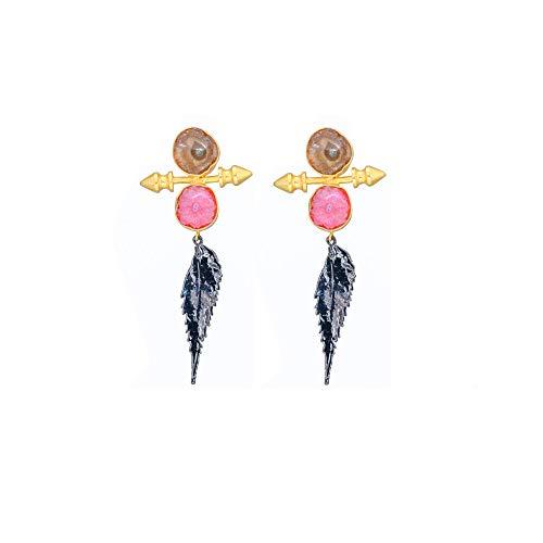 Black Leaf Statement Earrings, Brown Pink Druzy Stud Earrings for Women, Gold Spike Boho Hippie Earrings