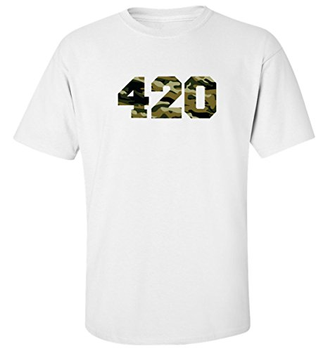 Camouflage 420 Logo dope t-Shirt Herren Baumwoll Weiss (L)