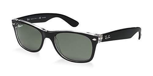 Ray-Ban RB2132 New Wayfarer Gafas de sol, Negro (Marco negro sobre transparente/lente verde 6052), Medium