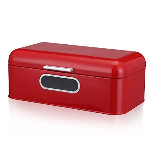 DAILYLIFE Grove Bread Box For Kitchen Counter Dry Food Storage Container, Bread Bin, Store Bread Loaf, Dinner Rolls, Pastries, Baked Goods & More, Retro Vintage Design, Red