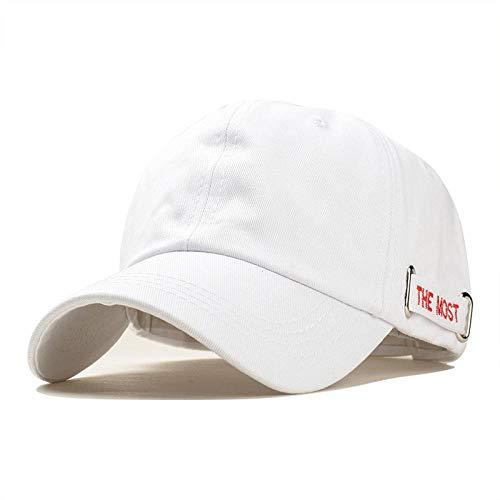 Casquette Homme Chapeau Casquette pour Hommes Broderie Lettre Bande Coton Mode Blanc Noir Casquettes De Baseball Réglable Snapback Chapeau pour Femmes Réglable Blancredcap