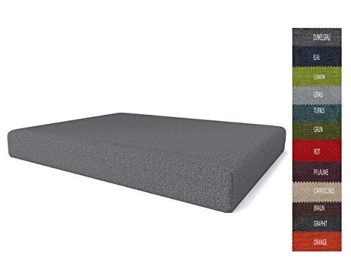Pillows24 Palettenkissen   Palettenauflage Polster für Europaletten   Hochwertige Palettenpolster   Palettensofa Indoor & Outdoor   Erhältlich Made in EU   Sitzfläche 120x60x15, Dunkelgrau