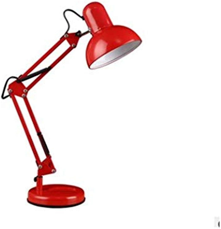 Swing Arm Desk Lamp LED Eye Protection Reading Lamp E27 Bulb Socket Collapsible Retractable Floor Metall-Struktur geeignet für Office Reading Work Study Etc,rot
