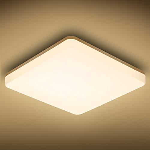 Oeegoo Deckenlampe LED Deckenleuchte 24W, 3000K Warmweiß Badlampe, IP44 2400LM Küchenlampe für Badezimmer Küche Kinderzimmer Balkon Esszimmer Flur, 33x33x4.8cm